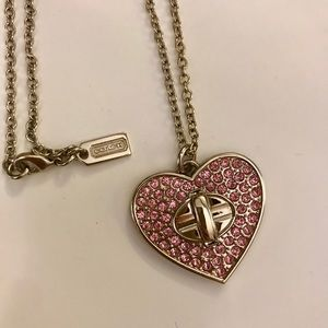 COACH pink pave heart lock necklace (LONG)